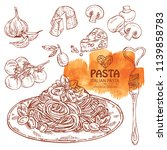 collection of pasta  folk with... | Shutterstock .eps vector #1139858783