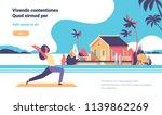 woman doing yoga exercises over ... | Shutterstock .eps vector #1139862269