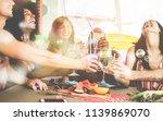 happy friends cheering with... | Shutterstock . vector #1139869070