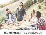 happy millennials friends... | Shutterstock . vector #1139869109