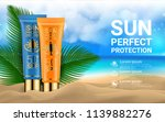 sunblock cosmetic 3d realistic... | Shutterstock .eps vector #1139882276