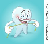 cute tooth with floss concept...   Shutterstock .eps vector #1139892749