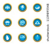 tropical assist icons set. flat ...   Shutterstock .eps vector #1139895548