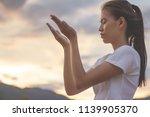 human hands open palm up... | Shutterstock . vector #1139905370