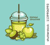 green healthy smoothie vector... | Shutterstock .eps vector #1139906993