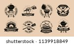 bbq  barbecue  grill logo or... | Shutterstock .eps vector #1139918849