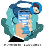 virtual online assistant. hand... | Shutterstock .eps vector #1139928596