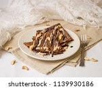 thin chocolate pancakes with...   Shutterstock . vector #1139930186
