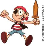 cartoon pirate kid with wooden... | Shutterstock .eps vector #113993764