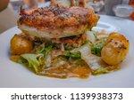 roasted chicken  warm escarole  ...   Shutterstock . vector #1139938373