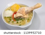 peruvian food  chicken soup.  | Shutterstock . vector #1139952710