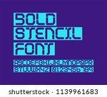bold stencil font set | Shutterstock .eps vector #1139961683