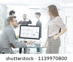two employees of the company...   Shutterstock . vector #1139970800