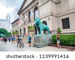 Small photo of CHICAGO, ILLINOIS - JUL 15, 2018: The Art Institute of Chicago is an encyclopedic art museum on July 15, 2018 in Chicago, Illinois, USA.