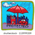 car and home insurance symbol... | Shutterstock .eps vector #113999209