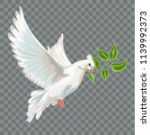 white flying dove with branch. | Shutterstock .eps vector #1139992373