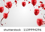 red balloons  confetti concept... | Shutterstock .eps vector #1139994296