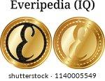 set of physical golden coin... | Shutterstock .eps vector #1140005549