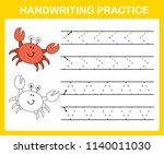 handwriting practice sheet... | Shutterstock .eps vector #1140011030