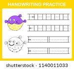 handwriting practice sheet... | Shutterstock .eps vector #1140011033