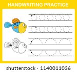 handwriting practice sheet... | Shutterstock .eps vector #1140011036