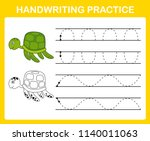handwriting practice sheet... | Shutterstock .eps vector #1140011063