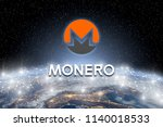 Concept of Monero coin Levitating  over world network, a Cryptocurrency blockchain platform , Digital money