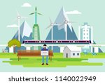 eco smart city and man working... | Shutterstock .eps vector #1140022949