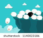 black sheep running out of... | Shutterstock .eps vector #1140023186