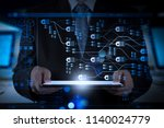 blockchain technology concept...   Shutterstock . vector #1140024779