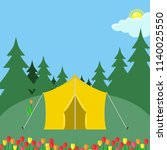 forest camp with tent. camping... | Shutterstock .eps vector #1140025550