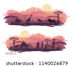 landscape of africa with the... | Shutterstock .eps vector #1140026879