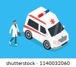 medical worker run to ambulance ... | Shutterstock .eps vector #1140032060