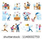 deadline at work icons set.... | Shutterstock .eps vector #1140032753