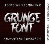 grunge alphabet font. uppercase ... | Shutterstock .eps vector #1140033620