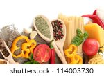 pasta spaghetti  vegetables and ... | Shutterstock . vector #114003730