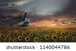 fantasy portrait of young woman ... | Shutterstock . vector #1140044786
