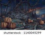 design of halloween night dark... | Shutterstock . vector #1140045299