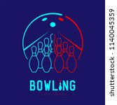 bowling with pins logo icon... | Shutterstock .eps vector #1140045359
