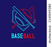baseball with bat and home... | Shutterstock .eps vector #1140045380