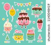 cute birthday set. cartoon... | Shutterstock .eps vector #1140048419