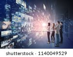 group of people looking... | Shutterstock . vector #1140049529