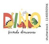 dinosaurs play with letters.... | Shutterstock .eps vector #1140050546