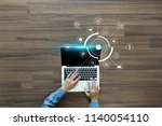 hand working with laptop... | Shutterstock . vector #1140054110
