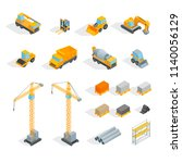 construction signs 3d icons set ... | Shutterstock .eps vector #1140056129