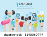 exercises conceptual design.... | Shutterstock .eps vector #1140060749