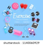 set of exercises equipment.... | Shutterstock .eps vector #1140060929