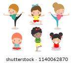 kids practicing yoga  happy... | Shutterstock .eps vector #1140062870