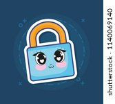 kawaii padlock icon | Shutterstock .eps vector #1140069140