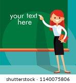 school teacher is standing at... | Shutterstock .eps vector #1140075806